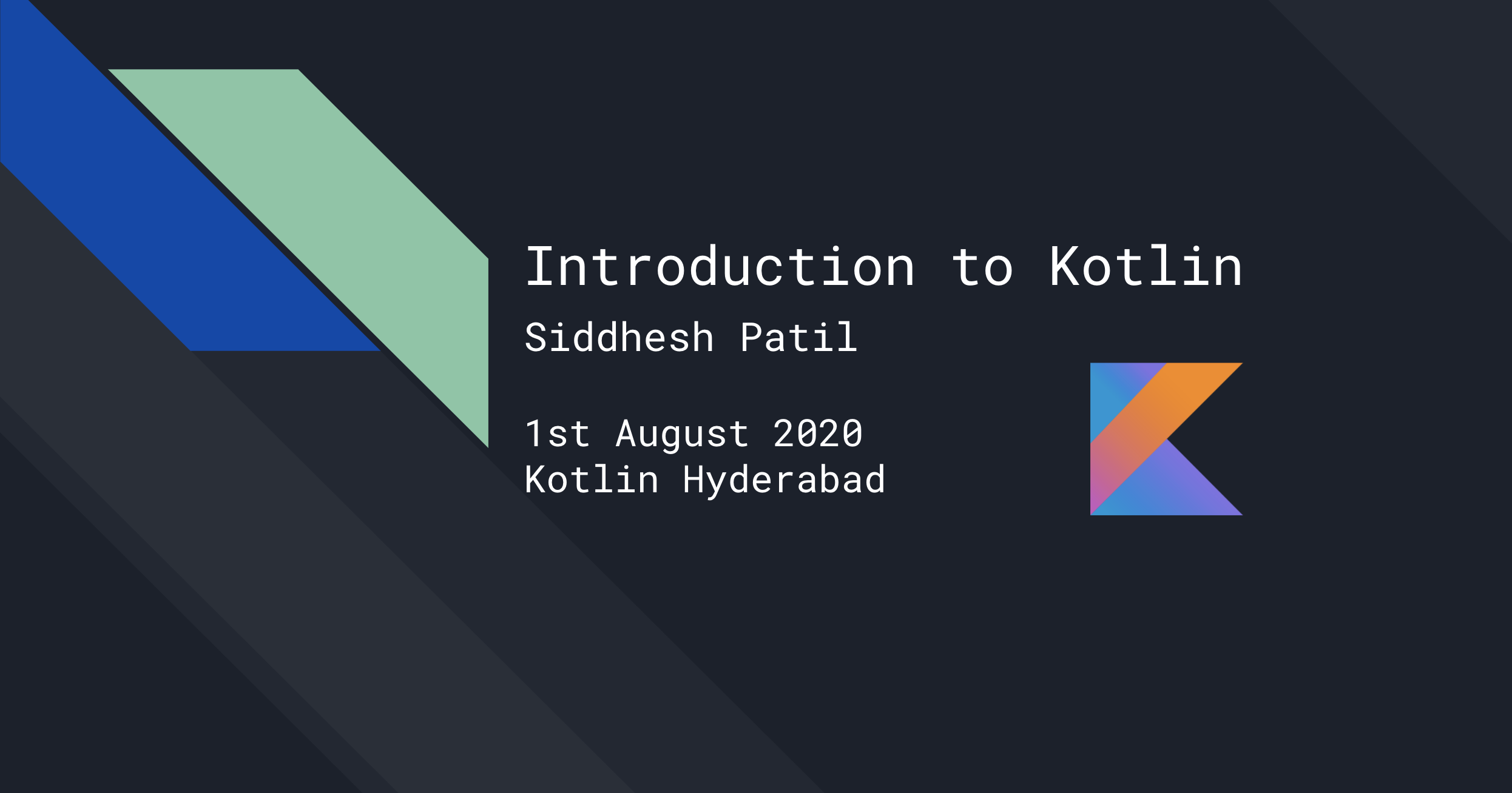 Siddhesh Patil talks about Kotlin and the language features at Kotlin Hyderabad a KUG by Jetbrains